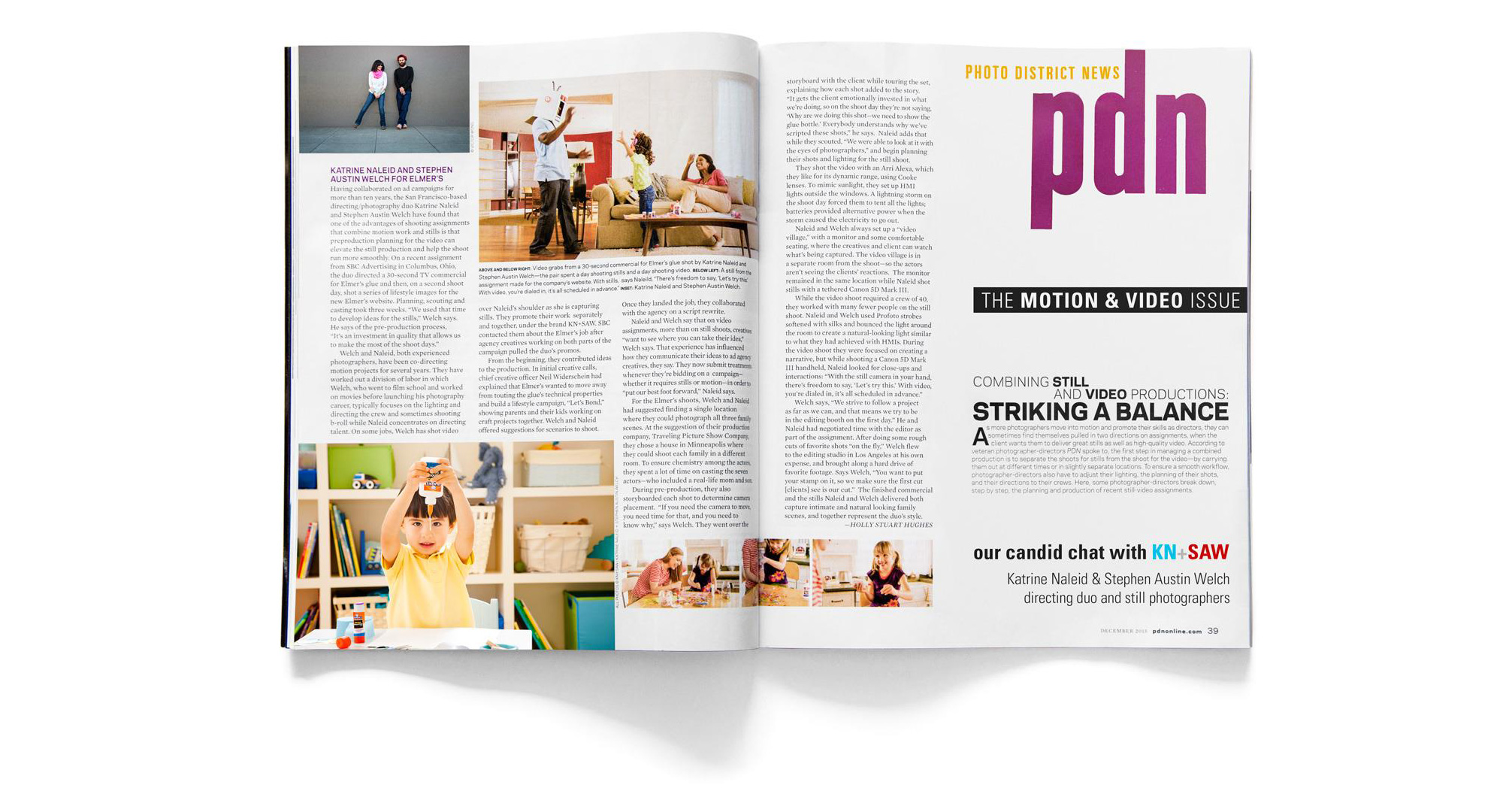 KN+SAW | Katrine Naleid + Stephen Austin Welch | directing duo Photo District News magazine article Striking A Balance PDN's candid chat with kids and lifestyle directors and potographers KN+SAW from the motion and video issue spread